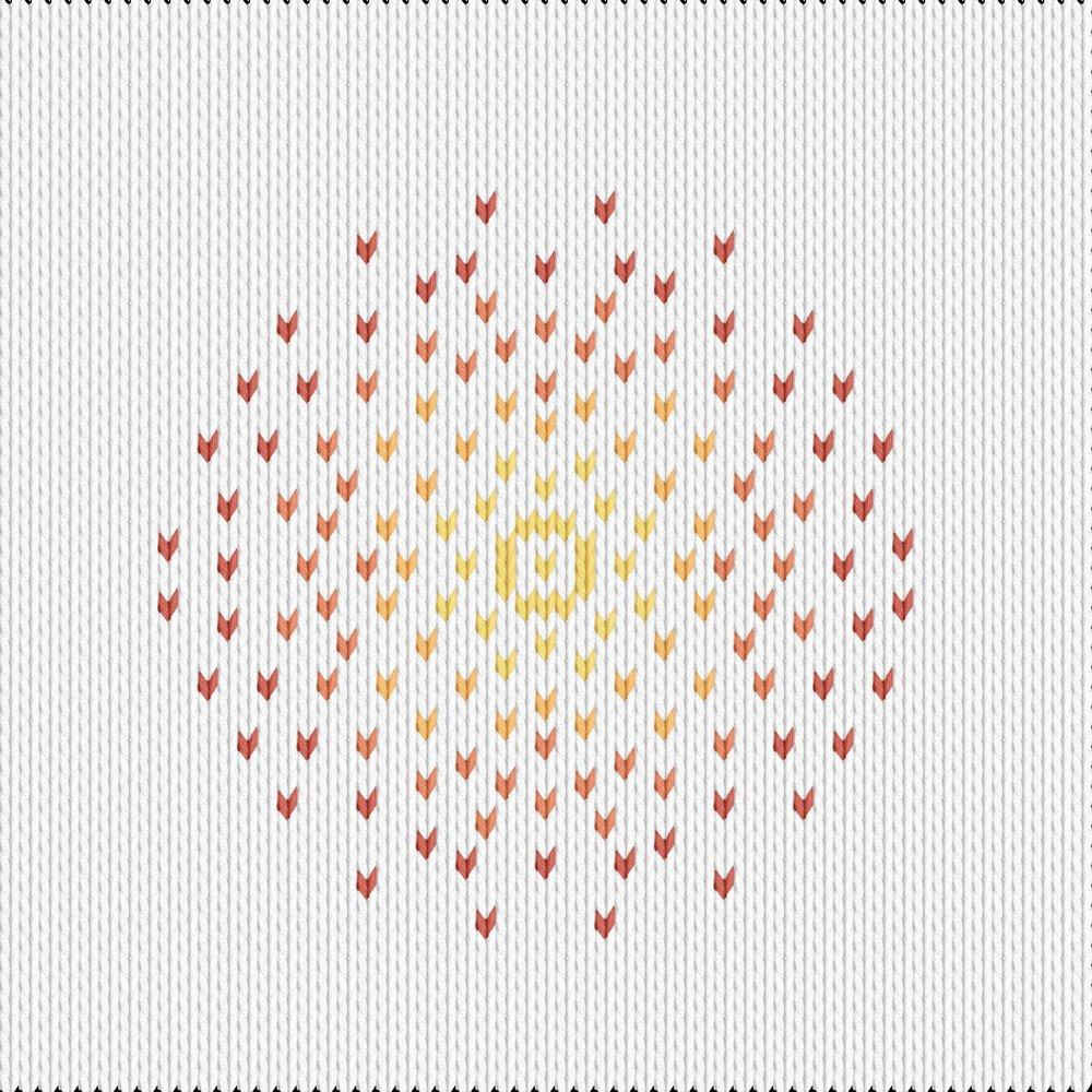 Knitting motif chart, Fireworks