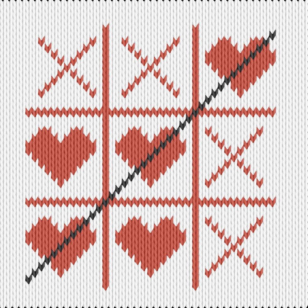 Knitting motif chart, tic tac toe