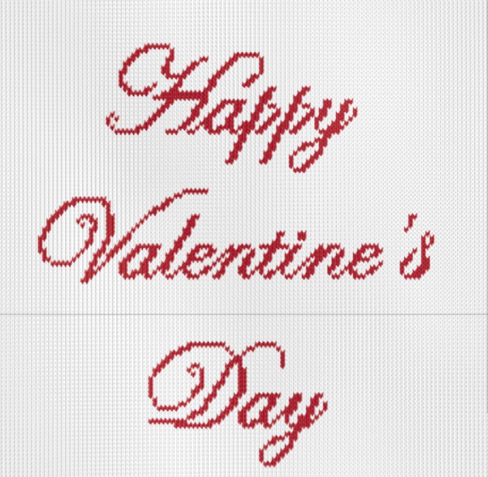 Knitting motif chart, happy valentines day