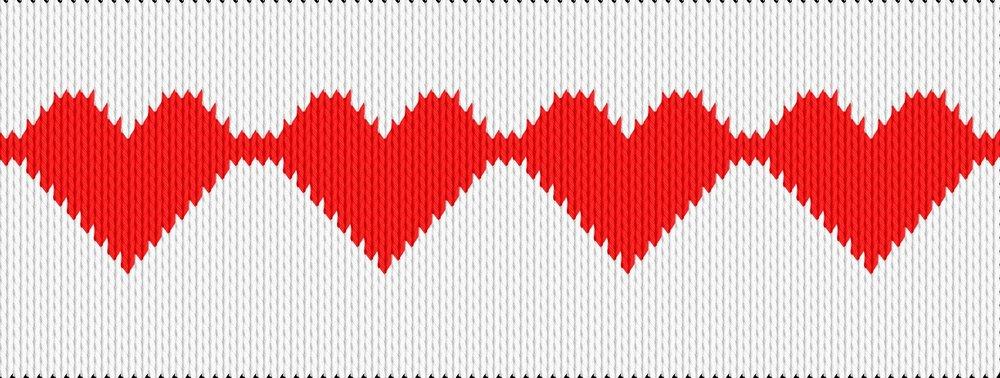 Knitting motif chart, striped hearts