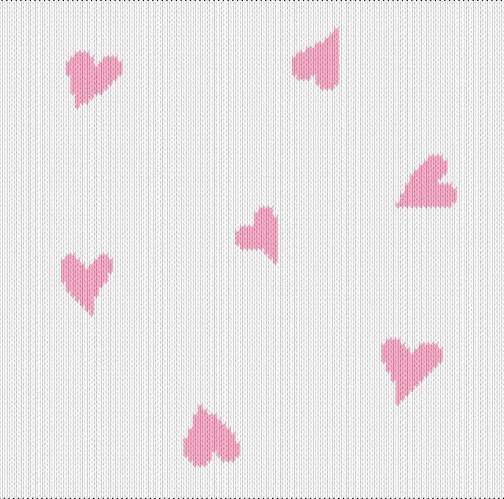 Knitting motif chart, fluttering hearts