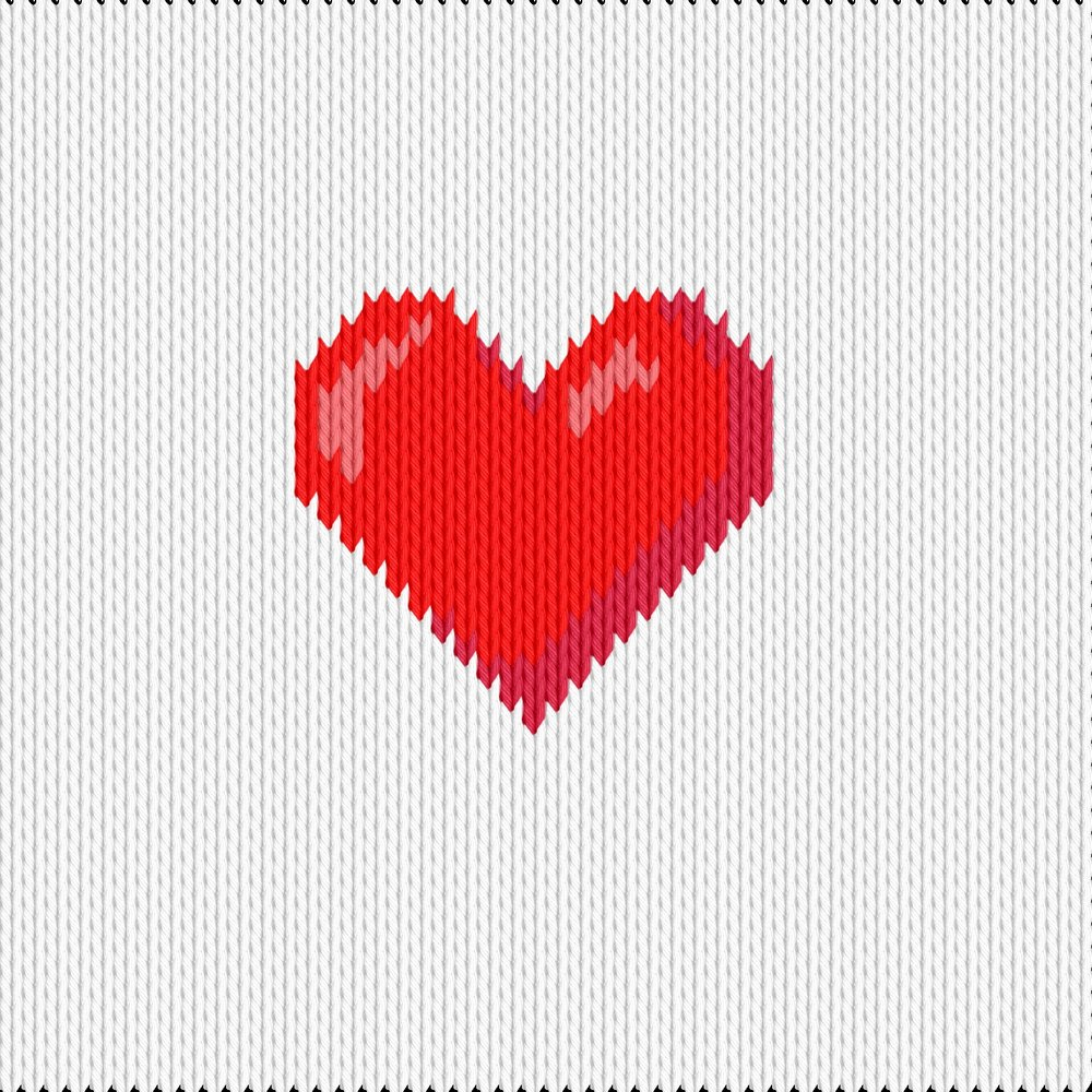 Knitting motif chart, red heart