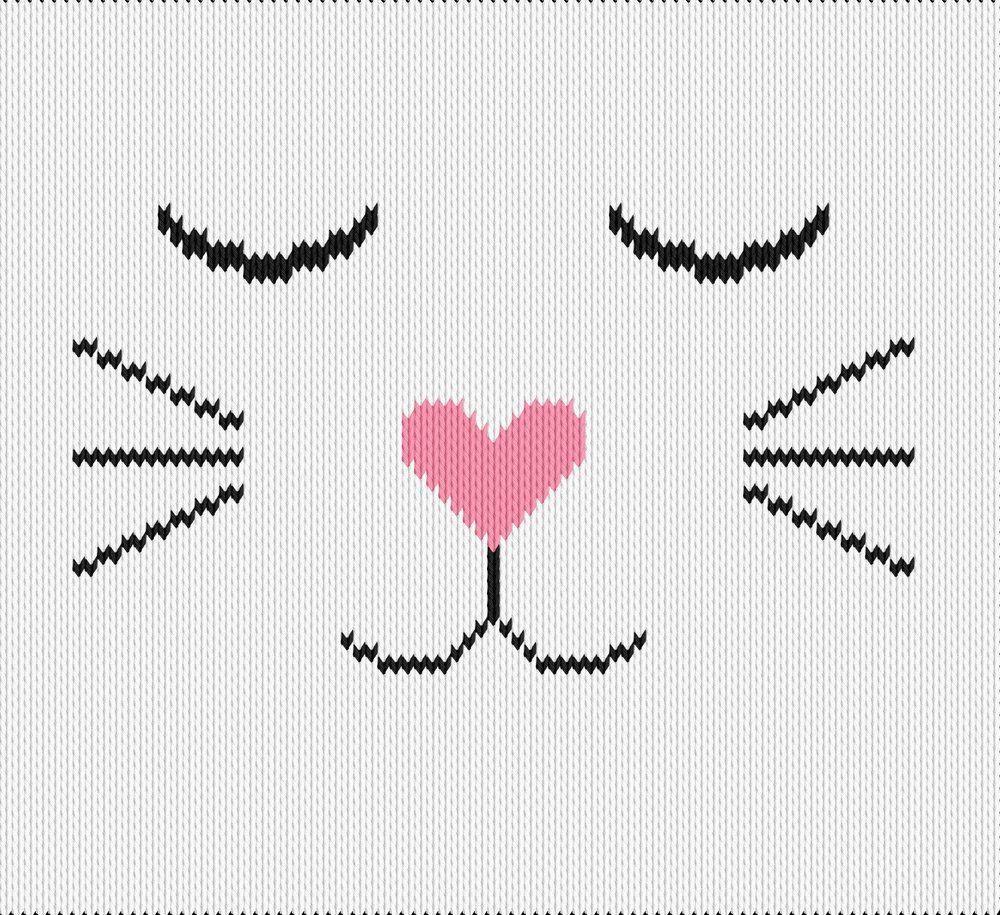 Knitting motif chart, cat with heart nose