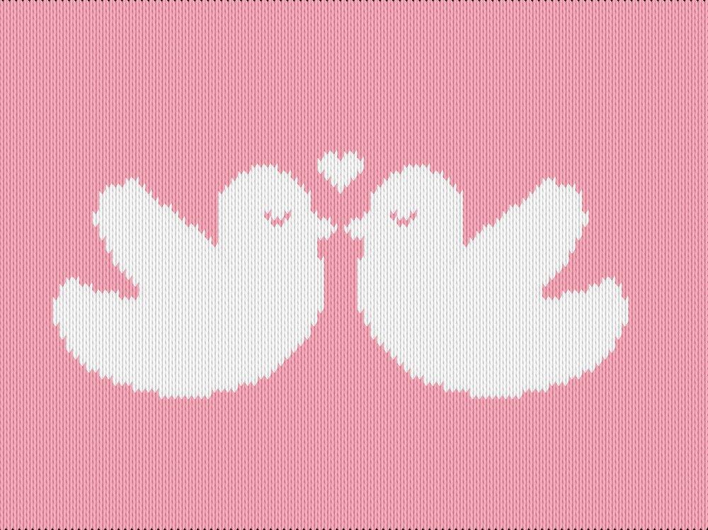 Knitting motif chart, lovebirds