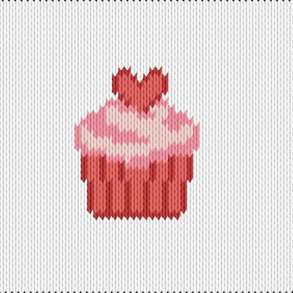 Knitting motif chart, cupcake