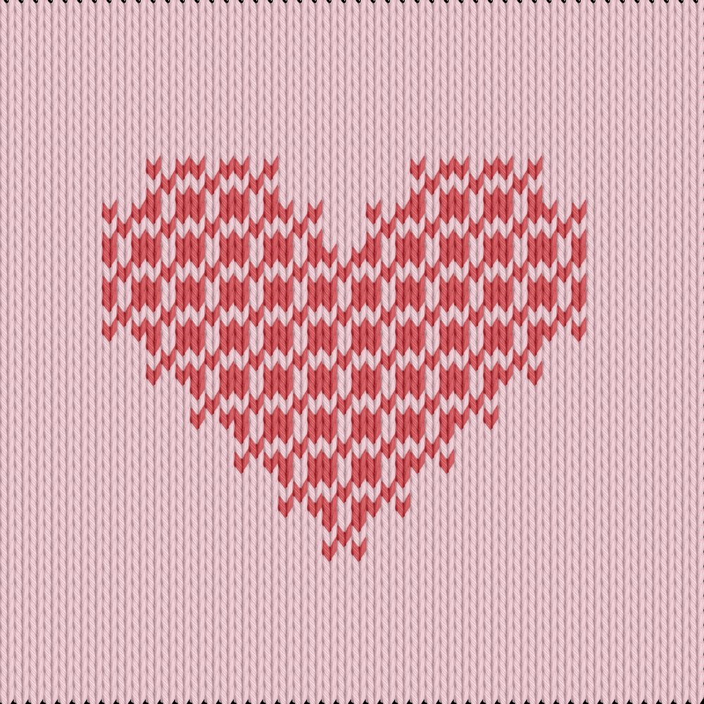Knitting motif chart, heart crossstitch
