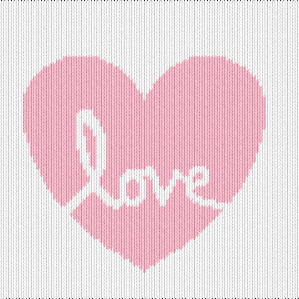 Knitting motif chart, love heart