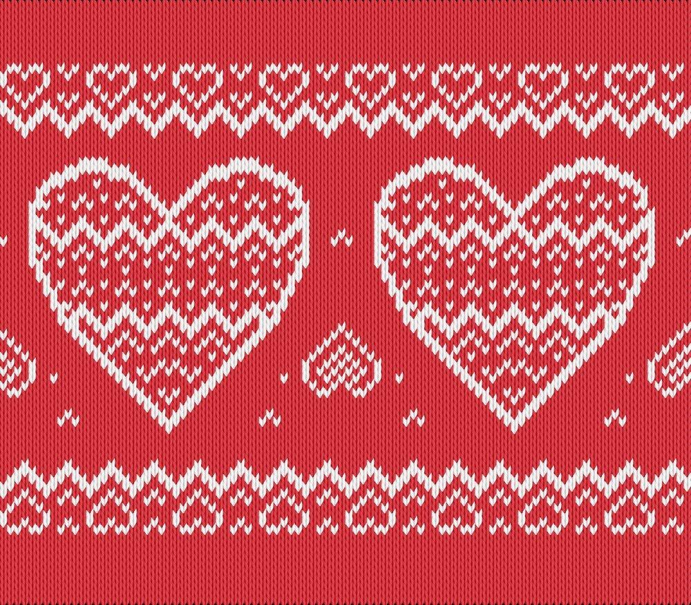 Knitting motif chart, heart pattern