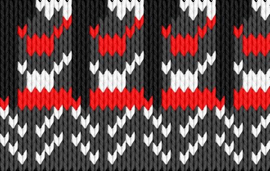 Knitting motif chart, Icelandic - gray, white, red
