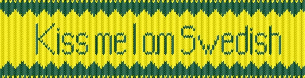 Knitting motif chart, Kiss me I am Swedish - yellow side