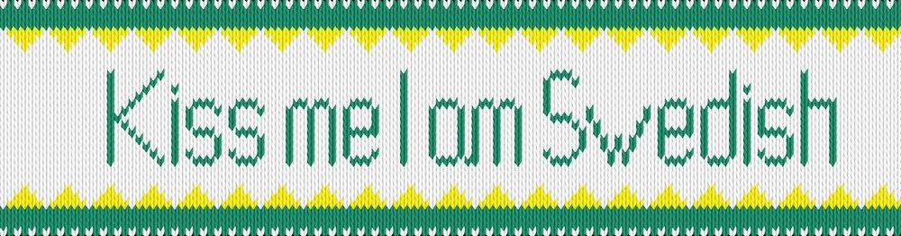 Knitting motif chart, Kiss me I am Swedish - white side
