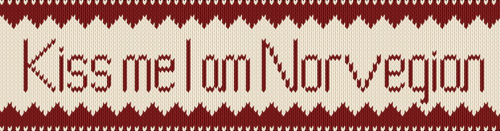 Knitting motif chart, Kiss me I am Norvegian
