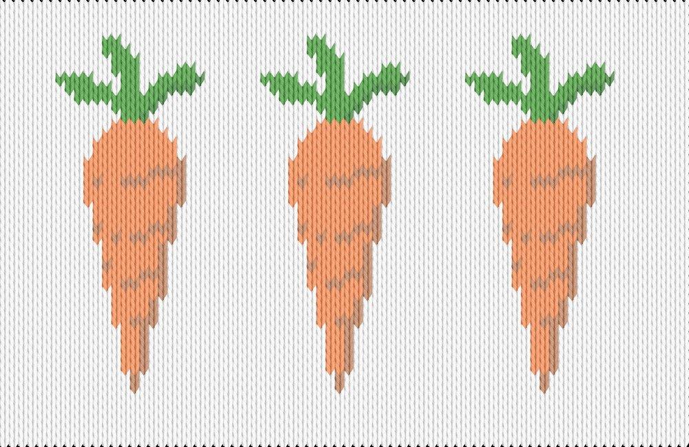 Knitting motif chart, carrots