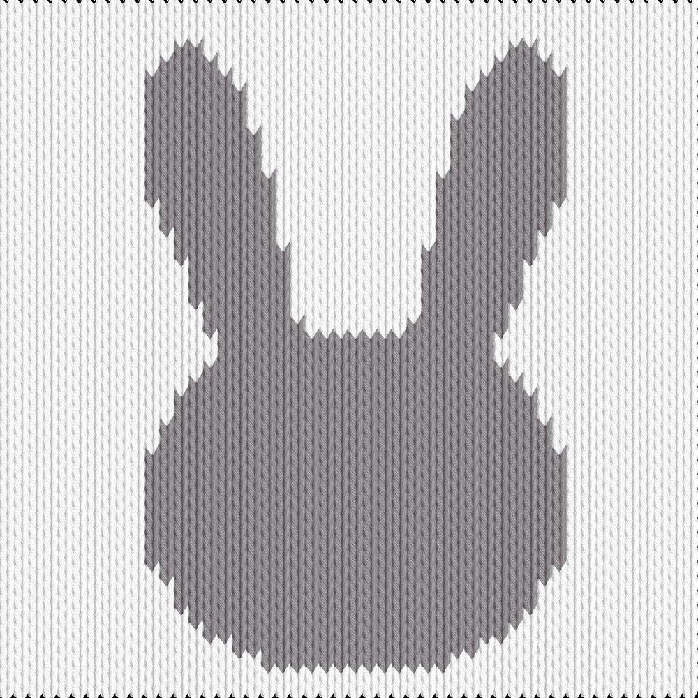 Knitting motif chart, bunny silhouette