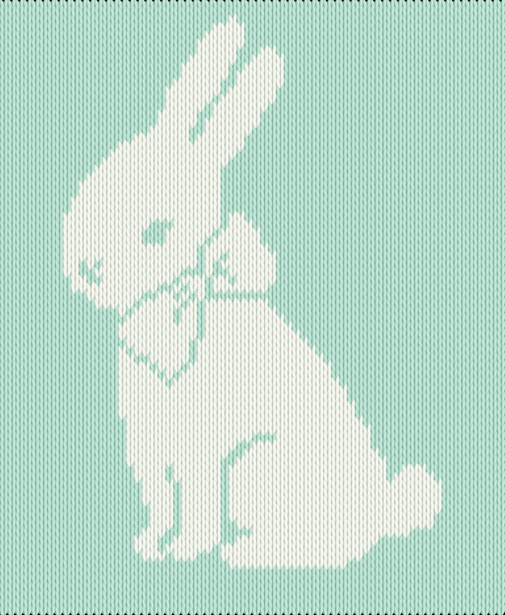 Knitting motif chart, bunny with bow