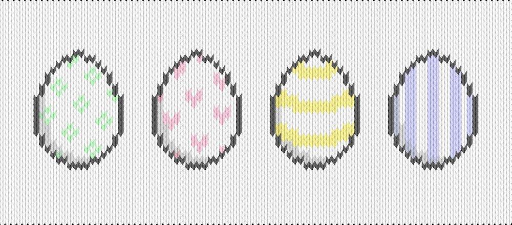 Knitting motif chart, easter eggs
