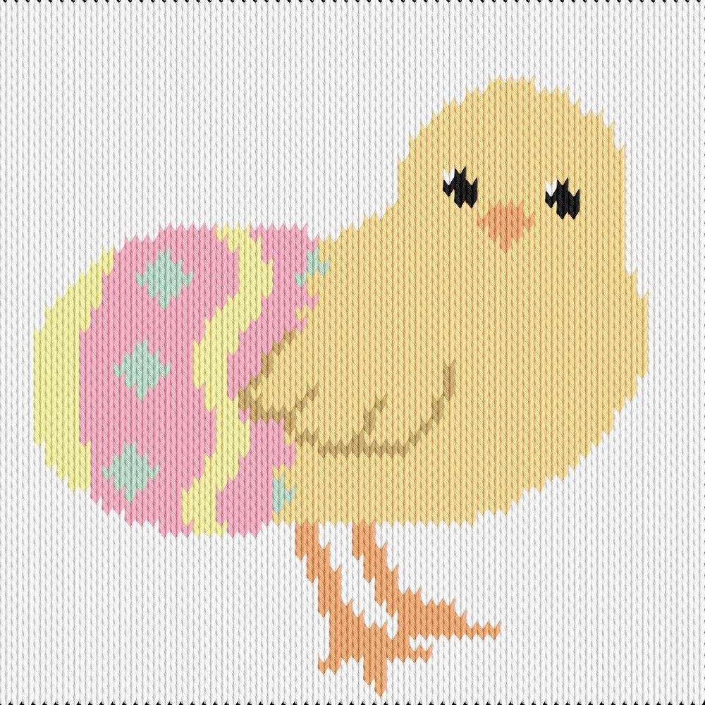 Knitting motif chart, chick and egg