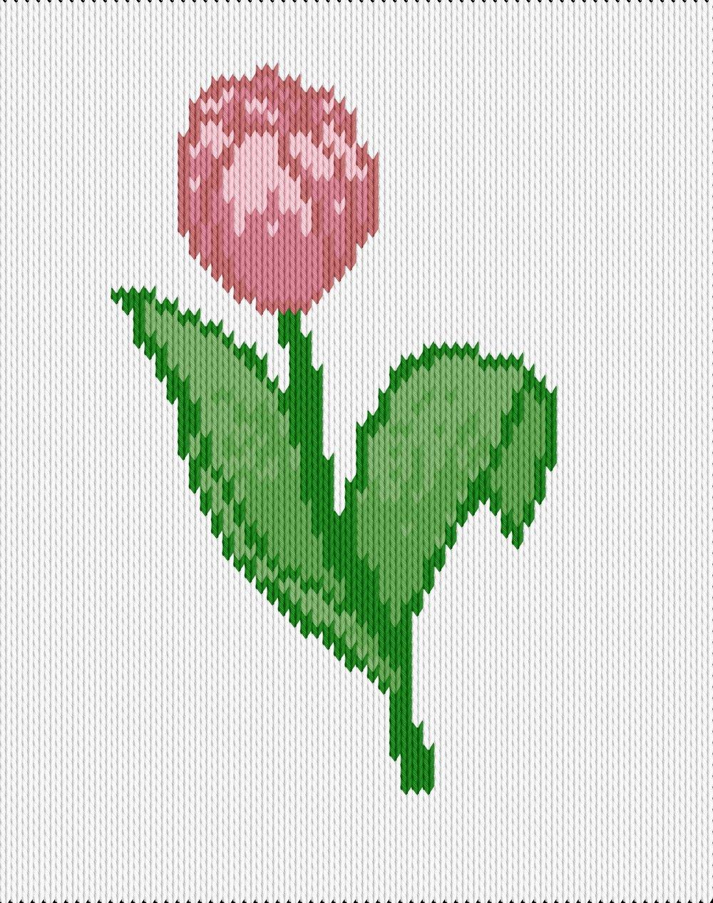 Knitting motif chart, tulip