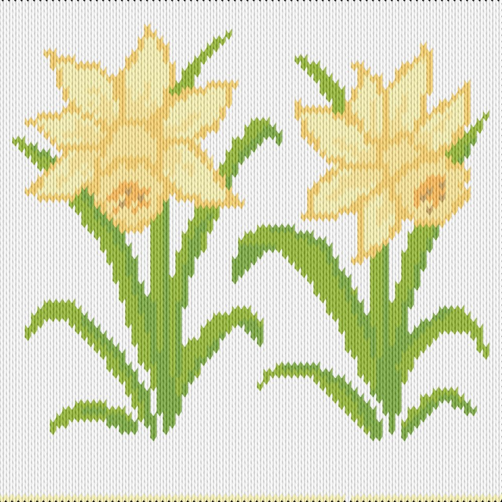 Knitting motif chart, easter lilies
