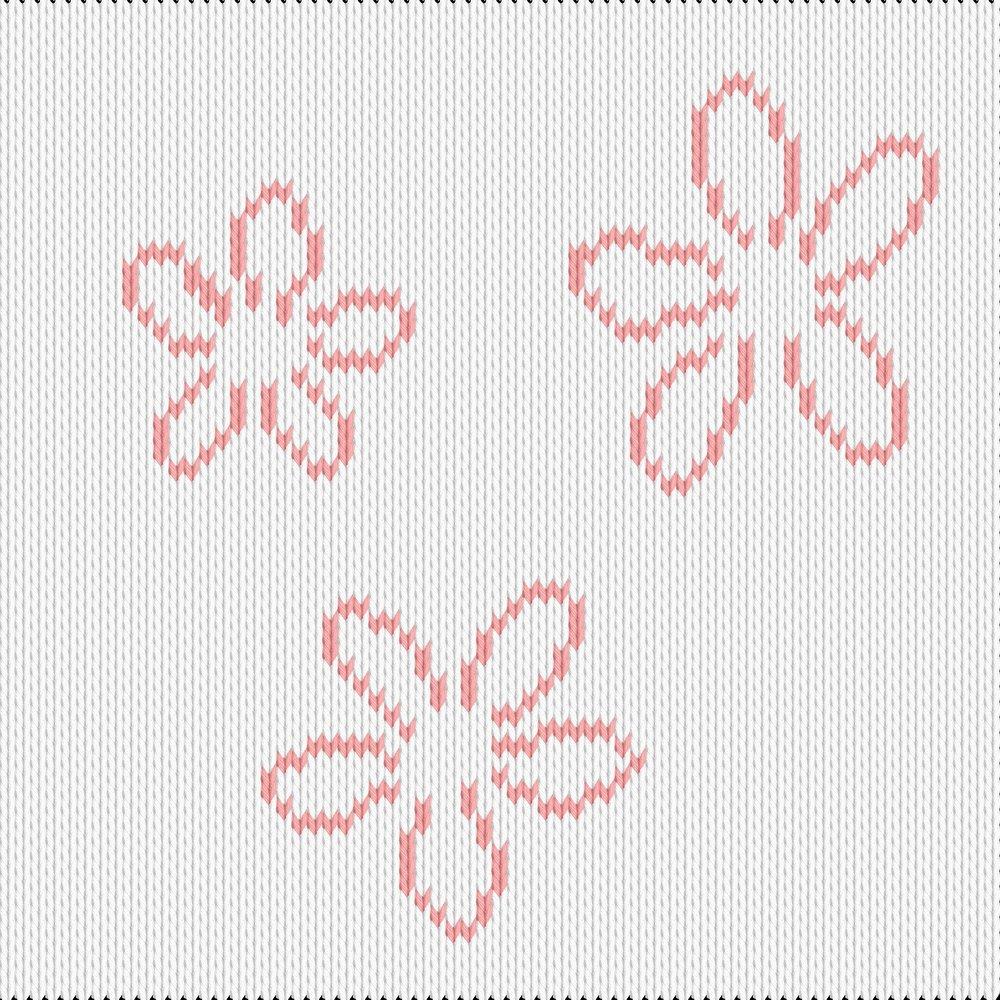 Knitting motif chart, flowers