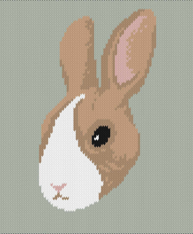 Knitting motif chart, bunny face