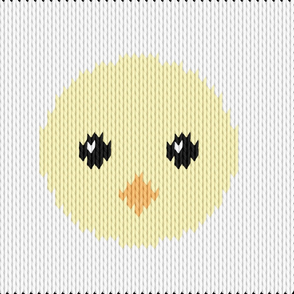 Knitting motif chart, easter chick