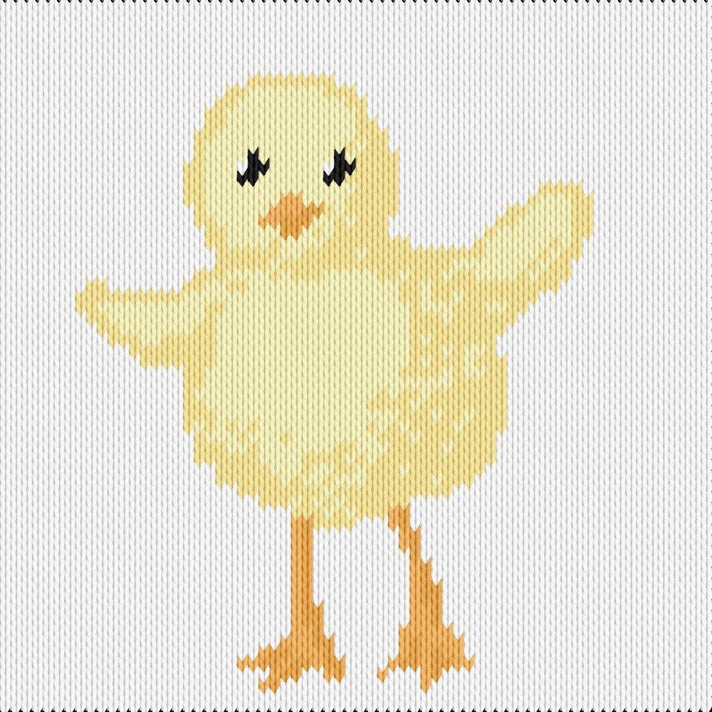 Knitting motif chart, chick