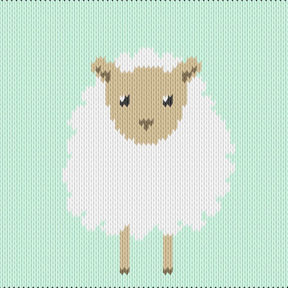 Knitting motif chart, sheep