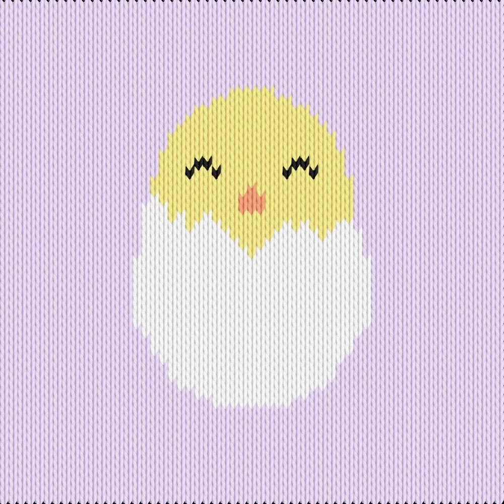 Knitting motif chart, chick in egg