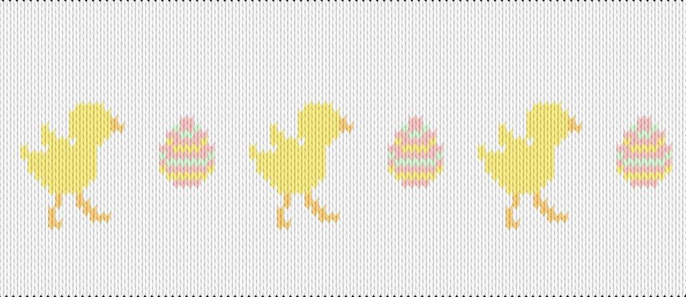Knitting motif chart, chicks and eggs