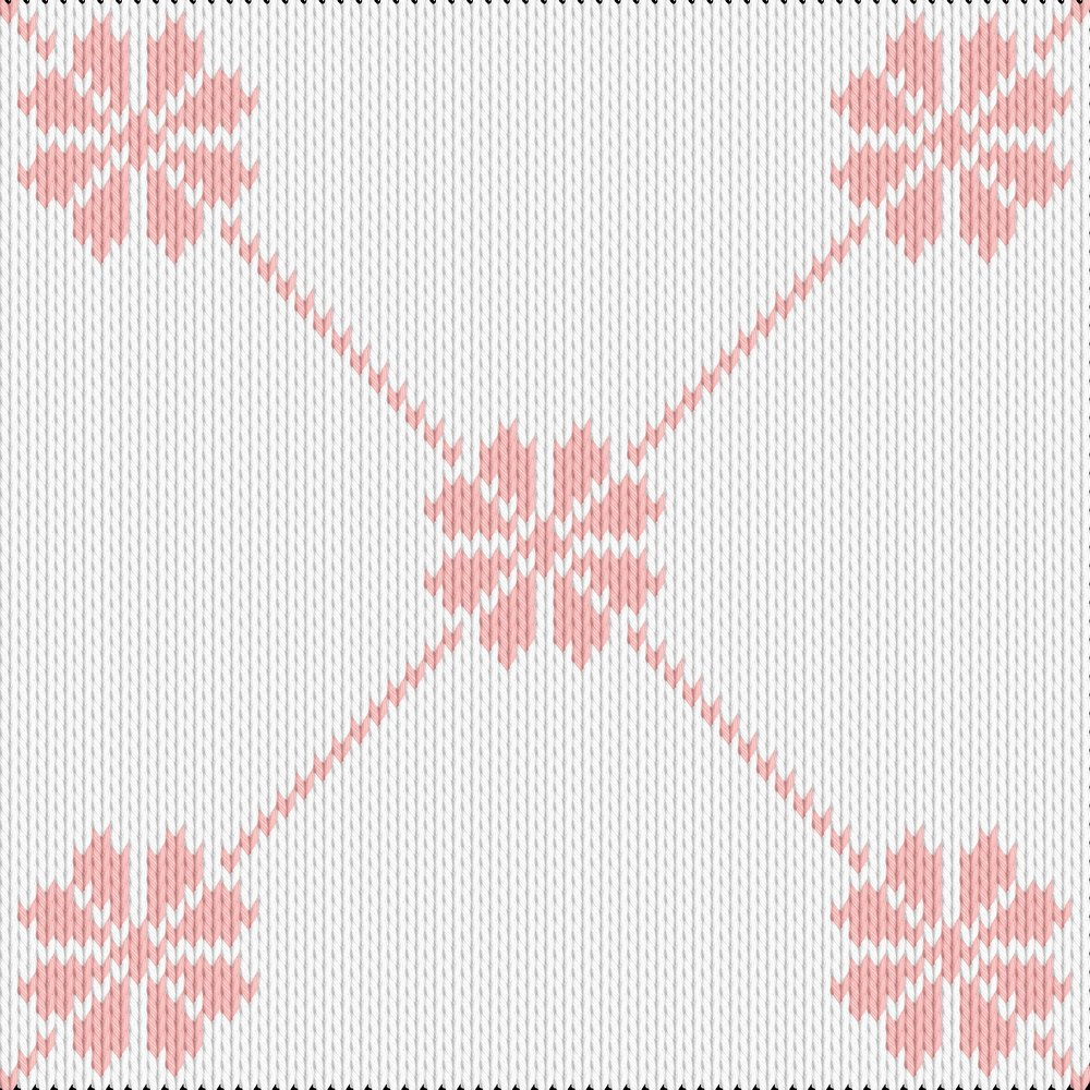 Knitting motif chart, flower pattern