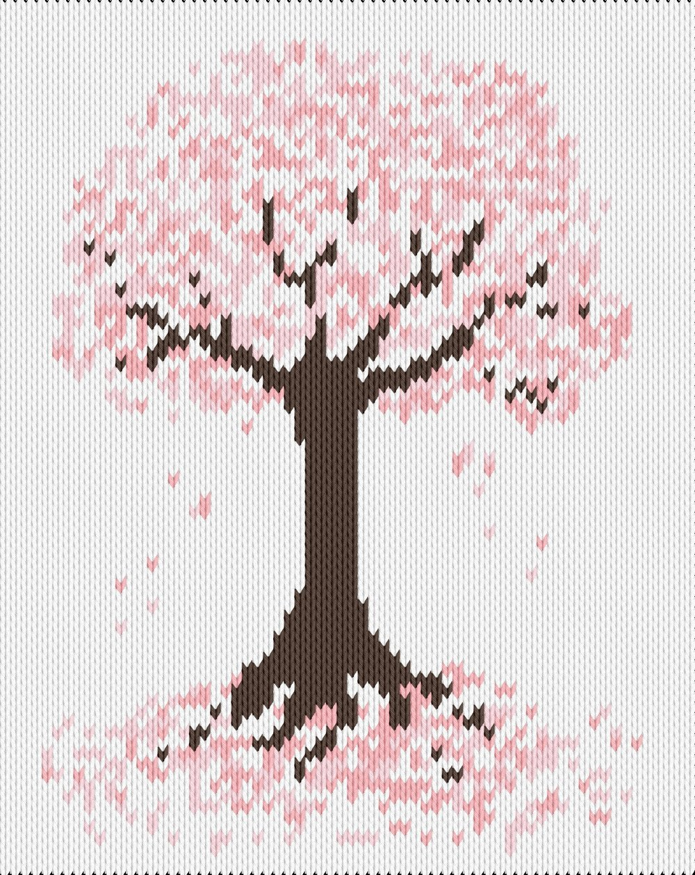 Knitting motif chart, sakura tree