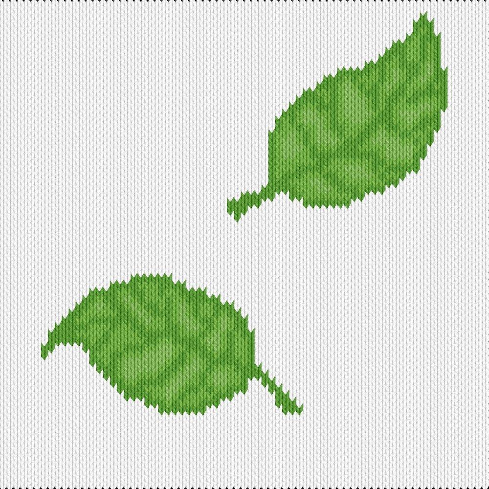 Knitting motif chart, leaves