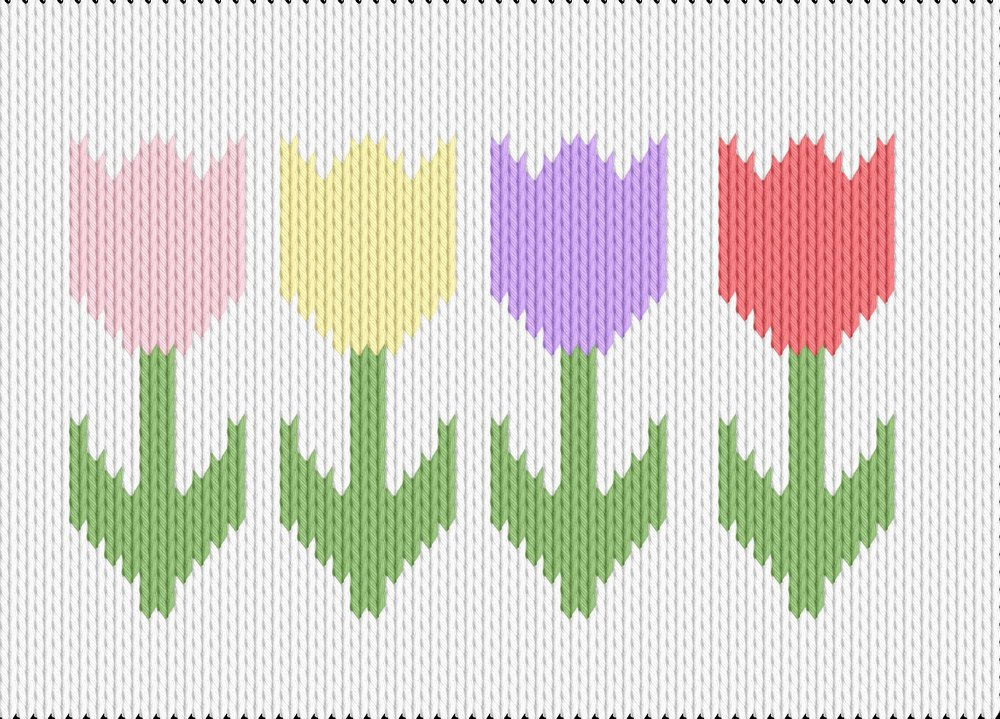Knitting motif chart, tulips
