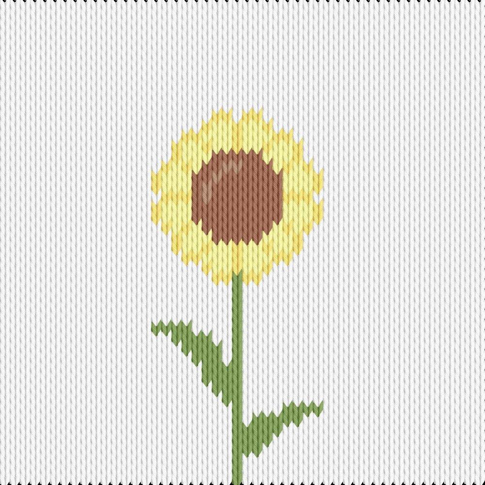 Knitting motif chart, sunflower simple