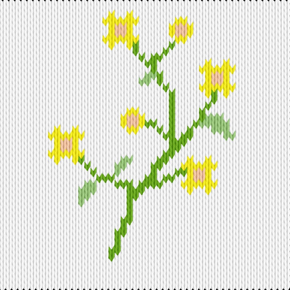 Knitting motif chart, yellow flowers