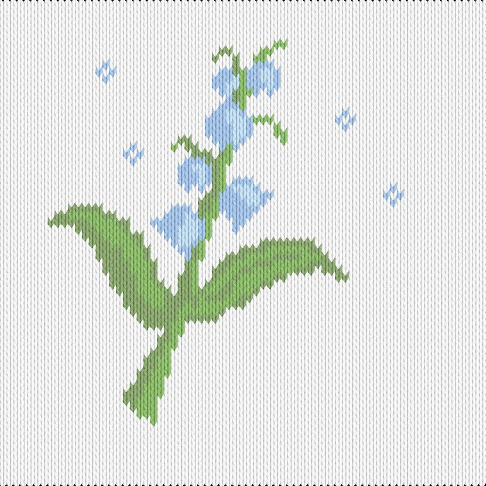 Knitting motif chart, blue bell flower