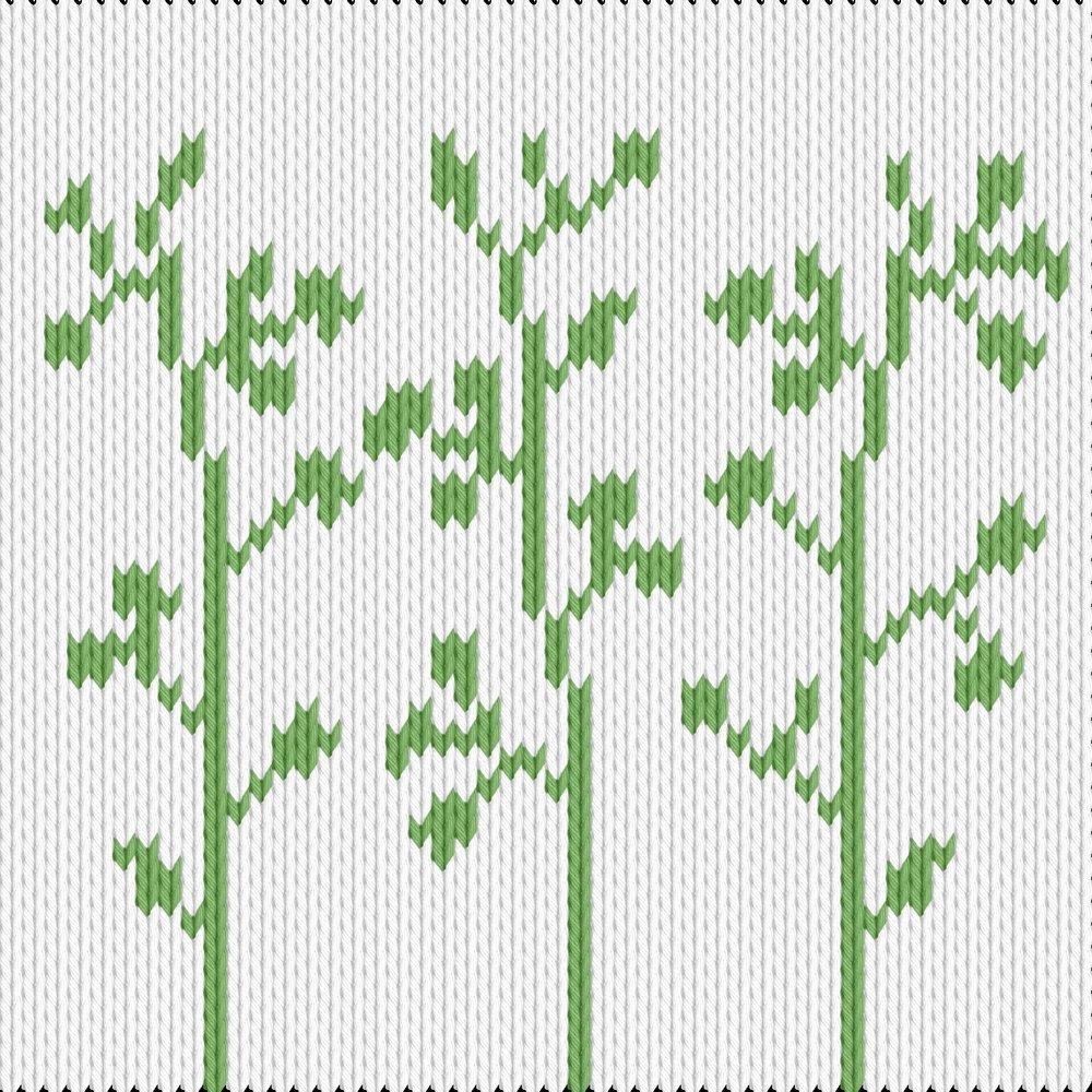 Knitting motif chart, wild green flowers