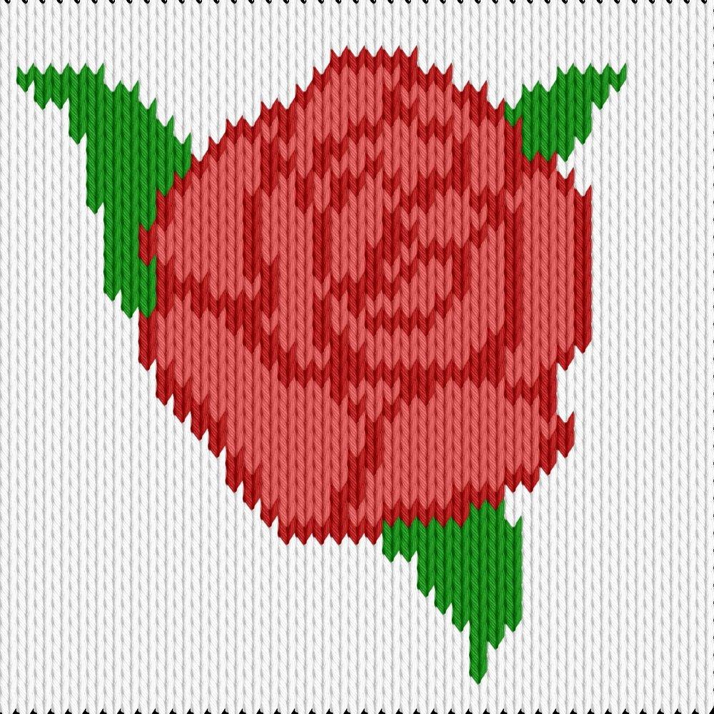 Knitting motif chart, red rose
