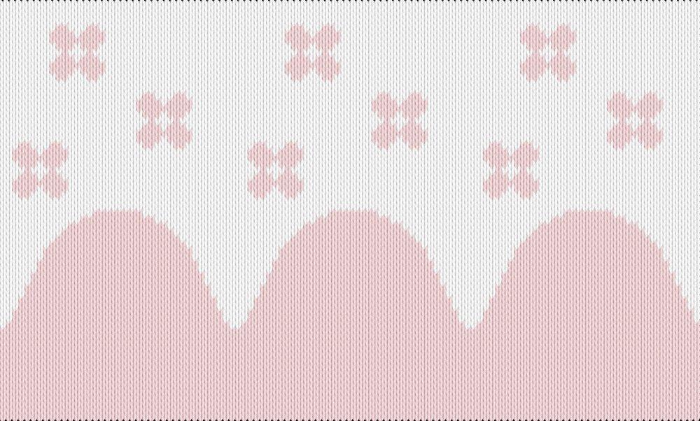 Knitting motif chart, flower scallop pattern