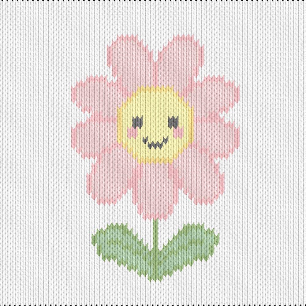 Knitting motif chart, happy flower