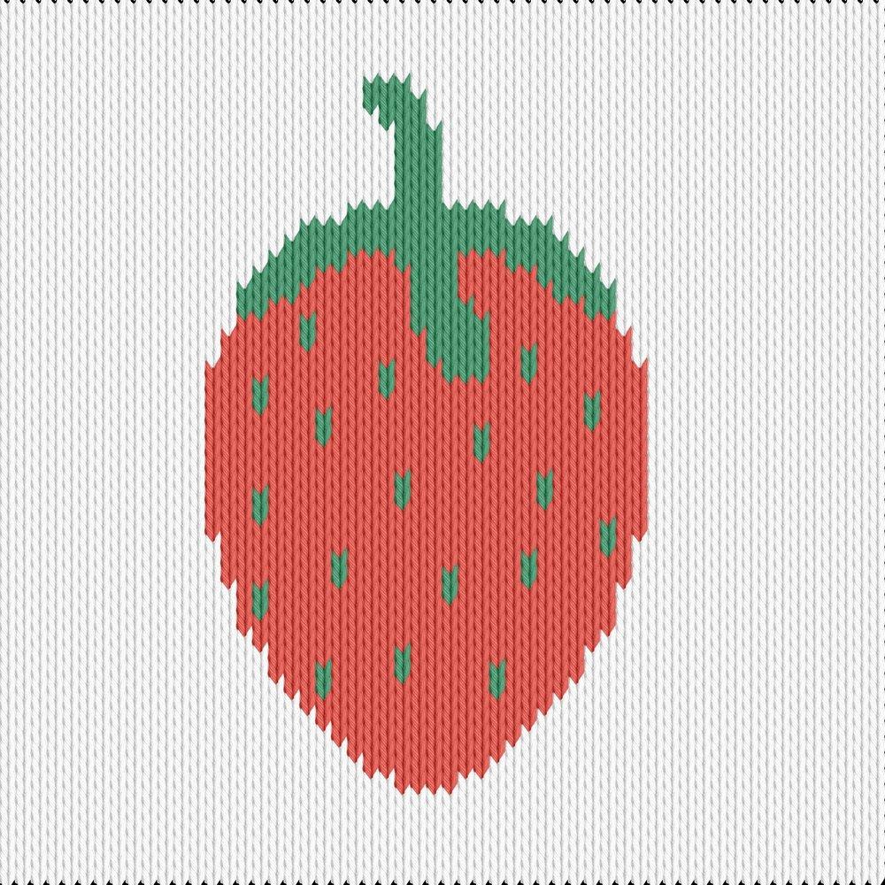 Knitting motif chart, strawberry