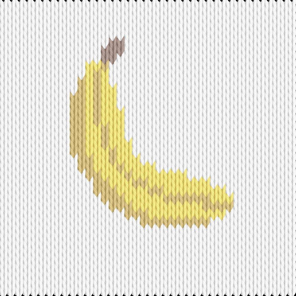 Knitting motif chart, banana