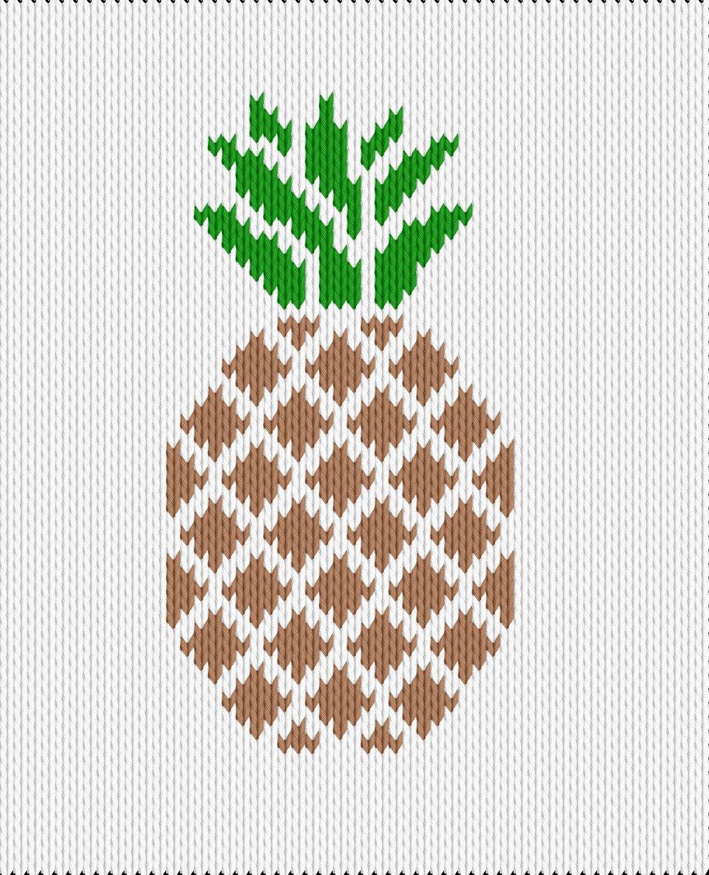 Knitting motif chart, pineapple