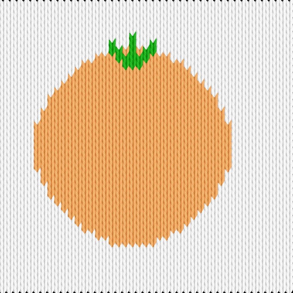 Knitting motif chart, orange