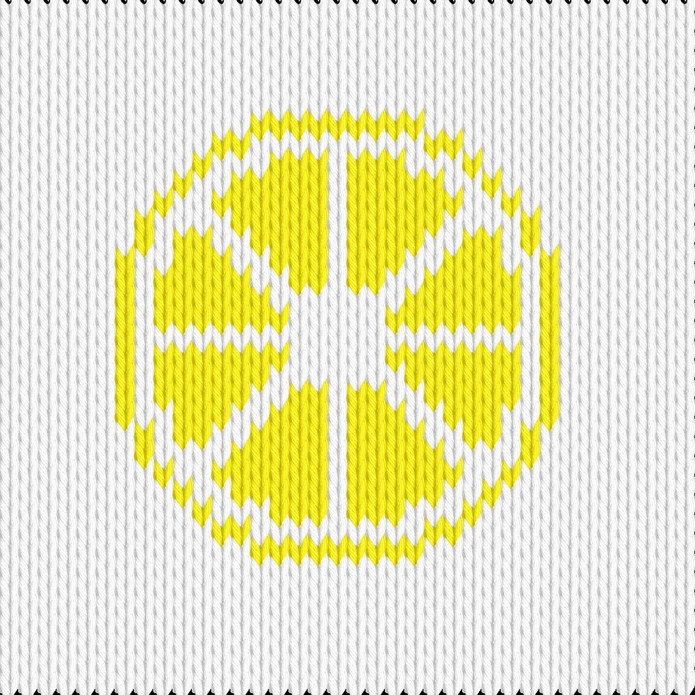 Knitting motif chart, citron sliced