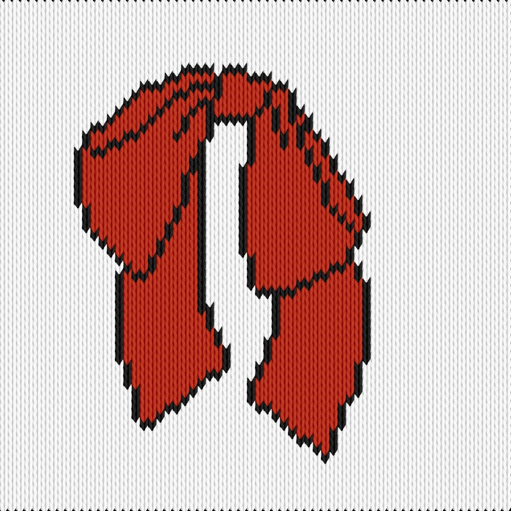Knitting motif chart, cartoon bow