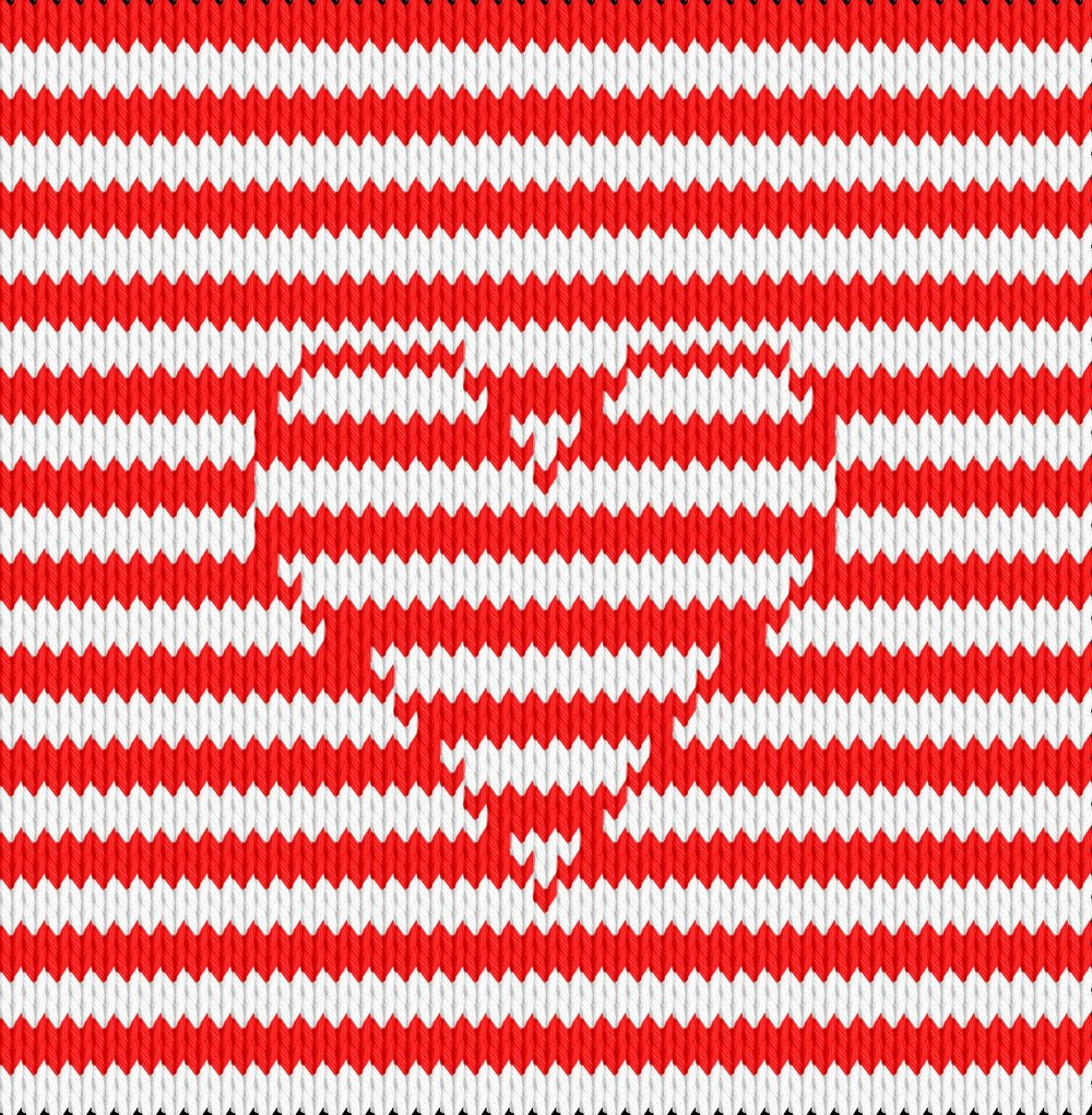 Knitting motif chart, striped lines with heart