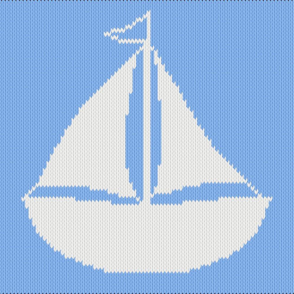 Knitting motif chart, boat