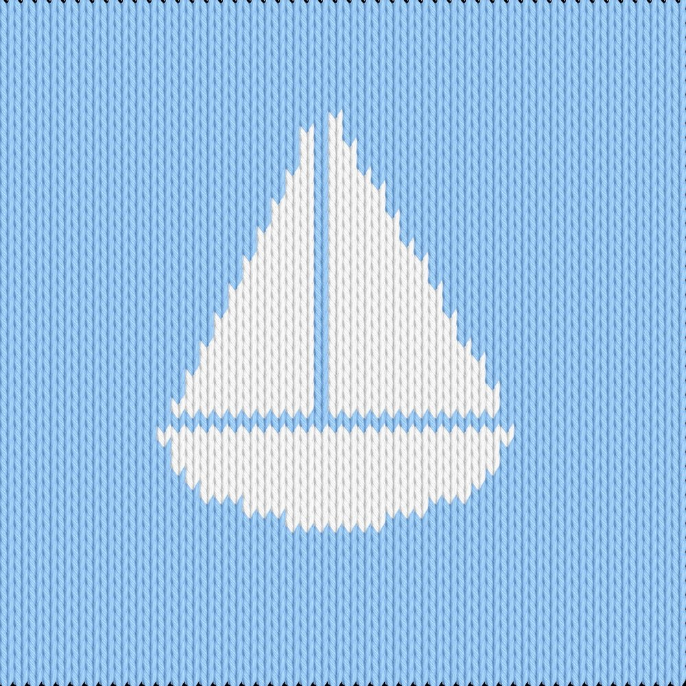 Knitting motif chart, small boat